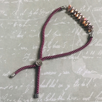 Pink Cord Bracelet With Czech Glass Beaded Bar