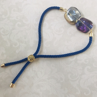 Blue Cord Bracelet With Irregular Czech Glass Beads