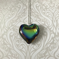 Multicolour Crystal Heart Statement Necklace