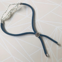 Blue Cord Beaded Bar Bracelet