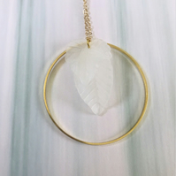 Hoop & Lucite Leaf Statement Necklace