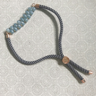 Gray Cord Beaded Bracelet With Czech Glass Beads