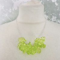 Lucite Leaf Cluster Pendant Statement Necklace.