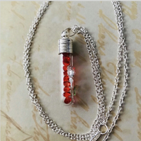 Rose Vial Pendant Necklace With Encased Crystals