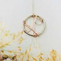Hoop & Wire Pendant Necklace