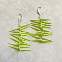 Vibrant Green Dagger Beaded Earrings
