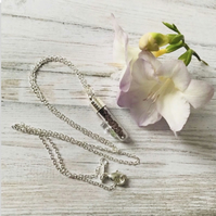 Vial Pendant Necklace With Encased Crystals