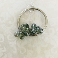 Hoop & Czech Glass Vine Pendant Necklace
