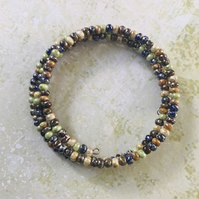 Rustic Picasso Memory Wire Bracelet