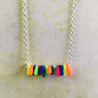 Rainbow Czech Glass Beaded Bar Necklace