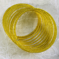 Golden Sun Yellow Beaded Memory Wire Bracelet