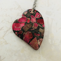Sea Sediment Jasper Heart Pendant Necklace