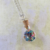 Rainbow Crystal Vial Pendant Necklace