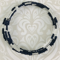 Navy Blue & Clear Silver Lined Seed Beaded Memory Wire Bracelet