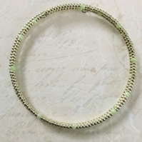 Antique Silver & Pale Green Seed Beaded Bracelet