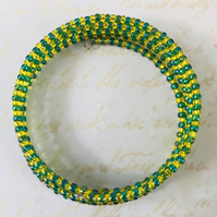 Green & Golden Yellow Seed Beaded Memory Wire Bracelet