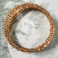 Browny Bronze Seed Beaded Memory Wire Bracelet