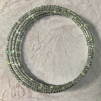 Gray and Multicoloured Seed Beaded Memory Wire Bracelet