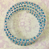 Pink & Blue Seed Beaded Memory Wire Bracelet