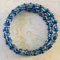 Multi Blue Chunky Seed Beaded Memory Wire Bracelet