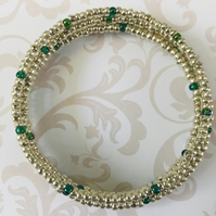 Antique Silver & Green Seed Beaded Memory Wire Bracelet