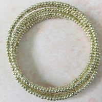 Antique Silver Seed Beaded Memory Wire Bracelet