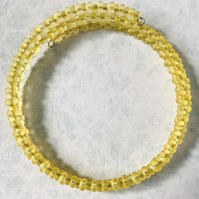 Sunshine Yellow Double Seed Beaded Memory Wire Bracelet