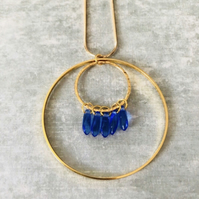 Gold Hoop & Blue Czech Glass Statement Necklace