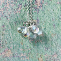 Iridescent Czech Glass Cluster Necklace