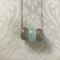 Gray & Blue Beaded Necklace