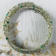 Silver & Green Seed Beaded Memory Wire Bracelet