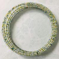 Multicolour Seed Beaded Memory Wire Bracelet