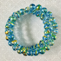 Vibrant Blue Drawbench Art Beaded Memory Wire Bracelet