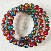 Vibrant Red Drawbench Art Beaded Memory Wire Bracelet