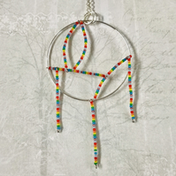 Rainbow Beaded Dream Catcher Statement Necklace