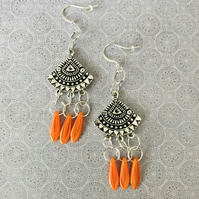 Vibrant Czech Glass Chandelier Earrings