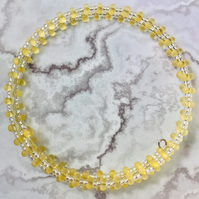 Clear, Silver Lined & Frosted Yellow Doubled, Seed Beaded Memory Wire Bracelet