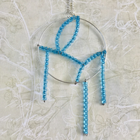 Aqua Blue Farfalle Rocailles Stament Pendant Necklace