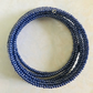 Metallic Blue Beaded Memory Wire Bracelet