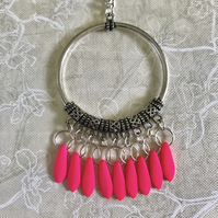 Neon Pink Czech Glass Chandelier Necklace