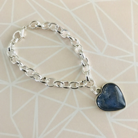 Chunky Link Bracelet With Painted Heart Charm