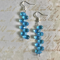 Aqua Czech Glass Beaded Dangle Earrings