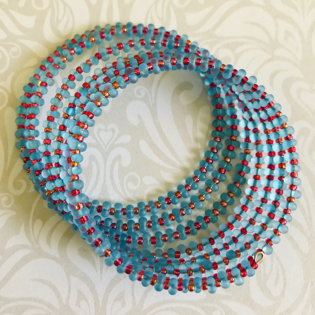 Beaded Statement Memory Wire Bracelet
