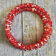 Vibrant Red AB Beaded Statement Bracelet