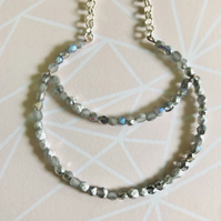 Beaded Crescent Moon Inspired Statement Necklace