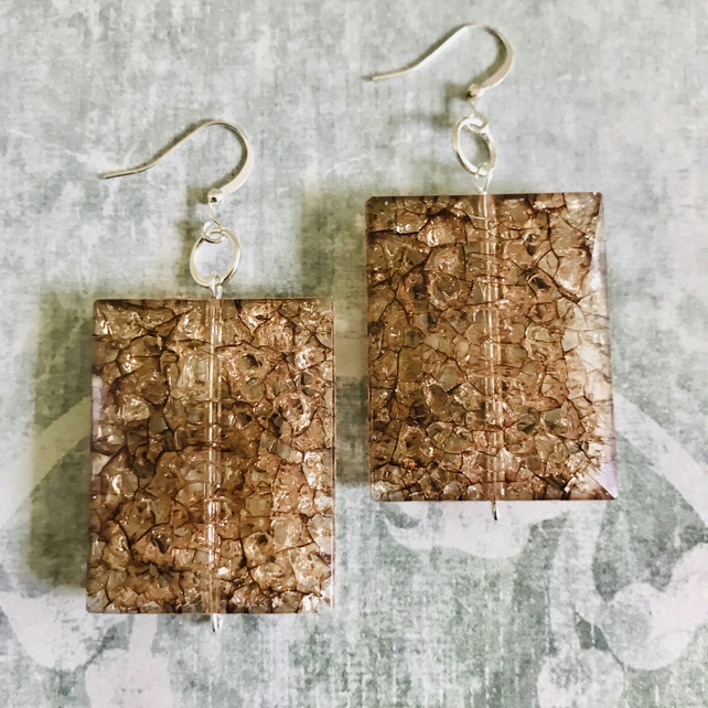 Beaded Crackle Effect Dangle Statement Earrings