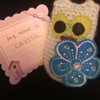 "Crochet Owl with embellished flower, unique item ""Crystal"""