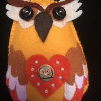 Felt Owl, with orange beaded heart and owl button, unique item.