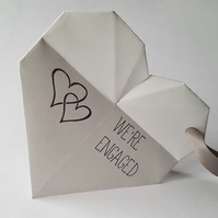 Handmade origami heart engagement party invitations