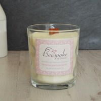 Aromatherapy Geranium and Lemongrass Soy Wax Wood Wick Crackle Candle